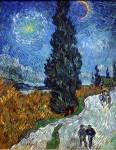 Van Gogh, Strada con cipressi sotto un cielo stellato