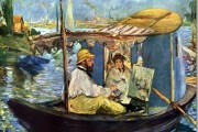 Edouard Manet, Monet painting on his studio boat, 1874, Neue Pinakothek, Munich