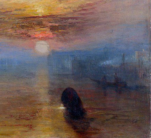 """William Turner - La nave da guerra """"Temeraire"""" viene rimorchiata al suo ultimo ancoraggio, per essere demolita (Dettaglio) - 1838 - olio su tela - Nationa Gallery - Londra"""